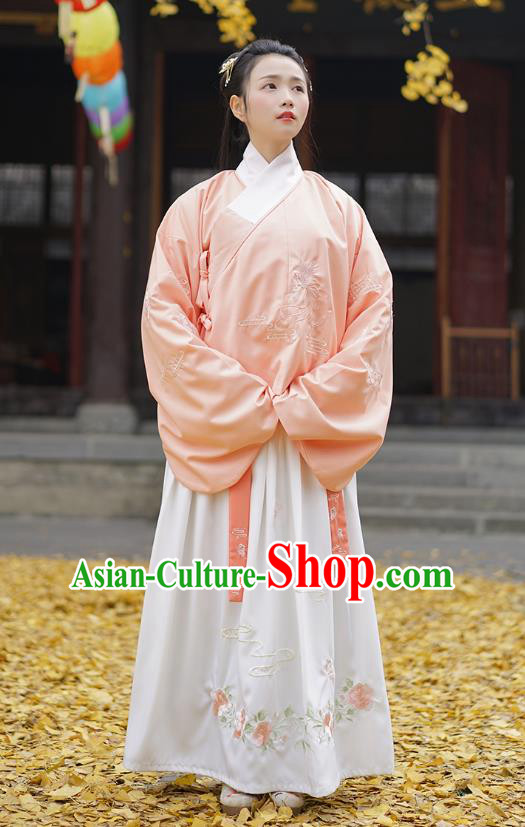 Traditional Asian Chinese Hanfu Costumes Ming Dynasty Palace Lady Embroidered Slant Opening Pink Blouse and Skirts Complete Set