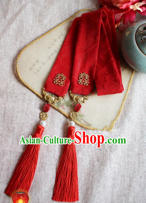 Chinese Handmade Classical Hair Accessories Bride Red Headband, China Xiuhe Suit Hair Clasp Wedding Headwear for Women