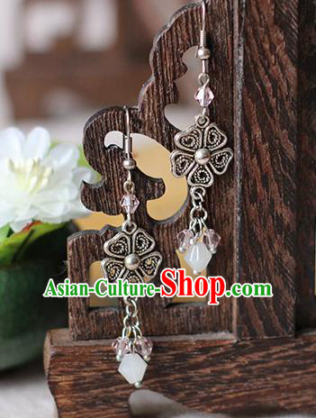 Chinese Handmade Classical Accessories Hanfu Earrings, China Xiuhe Suit Wedding Crystal Tassel Eardrop for Women