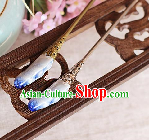 Chinese Handmade Classical Accessories Blue Ceramics Hairpin, China Hanfu Hair Clip for Women