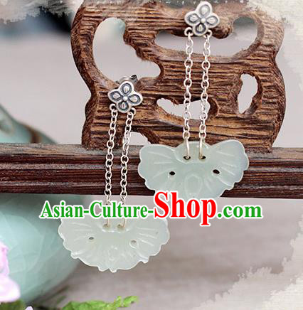 Chinese Handmade Classical Accessories Hanfu Long Tassel Earrings, China Xiuhe Suit Jade Butterfly Eardrop for Women