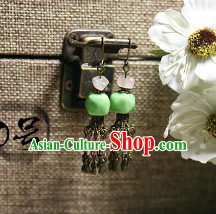 Chinese Handmade Classical Accessories Hanfu Green Earrings, China Xiuhe Suit Tassel Eardrop for Women