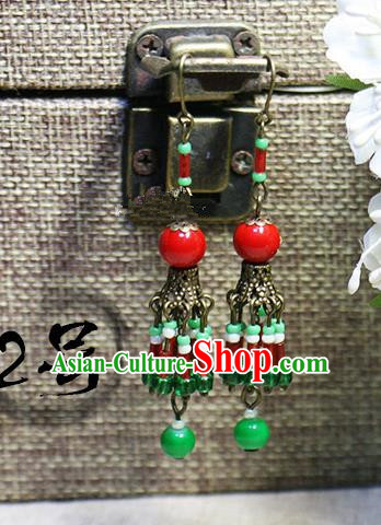 Chinese Handmade Classical Accessories Hanfu Red Earrings, China Xiuhe Suit Tassel Eardrop for Women