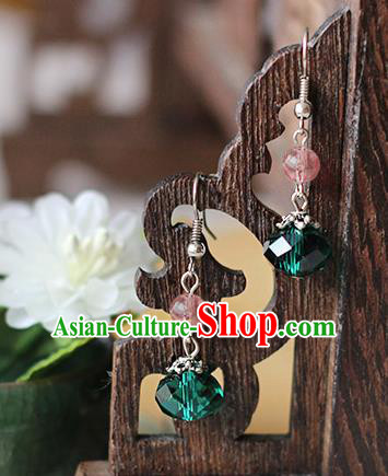 Chinese Handmade Classical Accessories Hanfu Green Tassel Earrings, China Xiuhe Suit Wedding Eardrop for Women