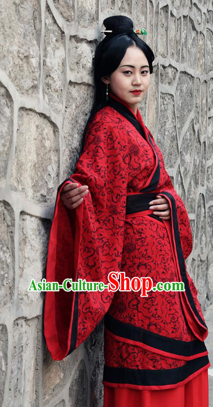 Traditional Oriental China Costume Palace Lady Red Curve Bottom, Chinese Hanfu Han Dynasty Princess Wedding Embroidered Clothing for Women