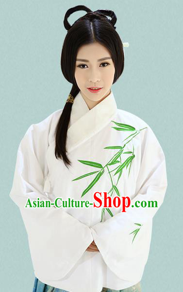 Traditional Oriental China Costume Palace Lady White Blouse, Chinese Ming Dynasty Princess Embroidered Bamboo Clothing for Women