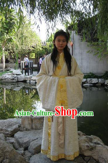 Traditional Asian Oriental China Costume Embroidery Palace Lady Yellow Curve Bottom, Chinese Han Dynasty Princess Embroidered Clothing for Women