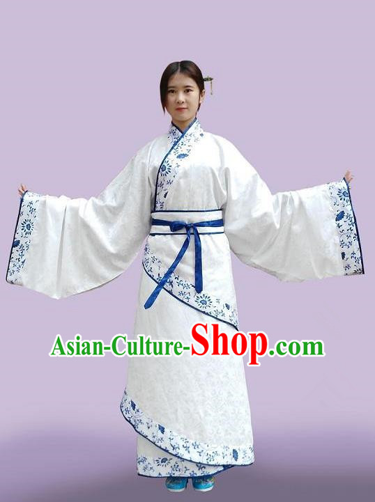 Traditional Asian Oriental China Costume Embroidery Palace Lady Blue and White Porcelain Curve Bottom, Chinese Han Dynasty Embroidered Clothing for Women