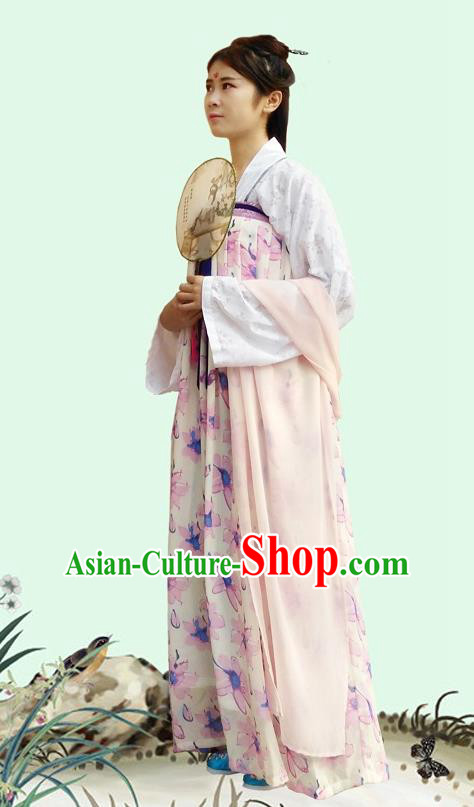 Traditional Oriental China Tang Dynasty Costume Ancient Young Lady Blouse and Printing Slip Skirt Complete Set for Women
