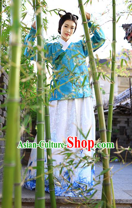 Traditional Chinese Ming Dynasty Young Lady Costumes Ancient Blue Blouse and Printing White Slip Skirts for Women