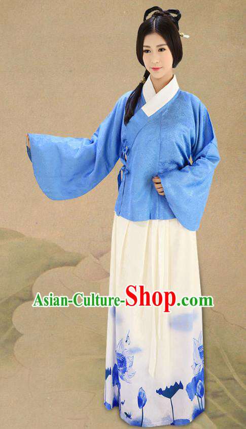 Traditional China Costume Hanfu Blue Blouse and Printing Lotus Skirt Complete Set, Chinese Ming Dynasty Princess Clothing for Women