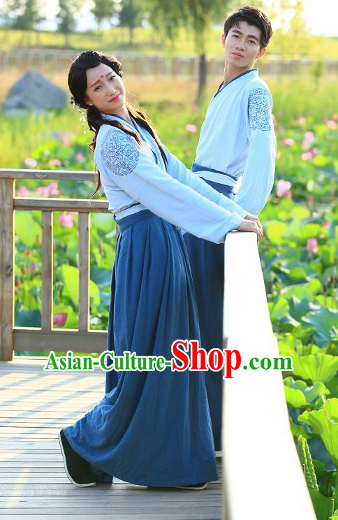 Traditional Asian China Costume Embroidered Blouse and Slip Skirt, Chinese Han Dynasty Hanfu Embroidered Clothing for Women for Men
