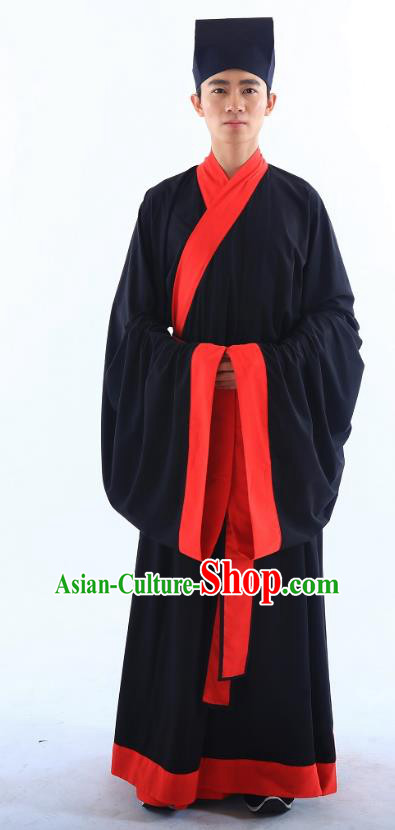 Traditional Asian China Ming Dynasty Costume Chinese Ancient Hanfu Officer Black Long Robe for Men