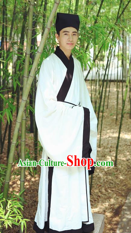 Traditional Asian China Ming Dynasty Costume Chinese Ancient Hanfu Officer Scholar White Long Robe for Men