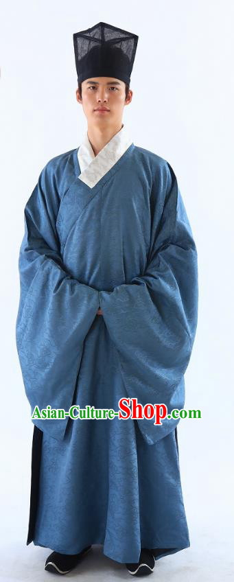 Traditional Asian China Han Dynasty Costume Chinese Ancient Hanfu Officer Scholar Blue Long Robe for Men