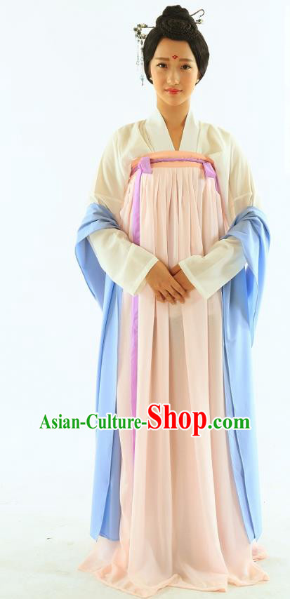 Traditional Chinese Hanfu Costumes Ancient Tang Dynasty Imperial Consort Blouse and Pink Slip Skirts Complete Set for Women