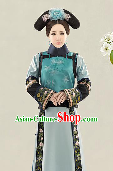 Traditional Ancient Chinese Imperial Consort Costume, Chinese Qing Dynasty Manchu Lady Dress Clothing for Women