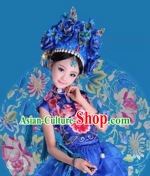 Traditional Ancient Chinese Imperial Consort Costume and Headpiece Complete Set, Chinese Qing Dynasty Manchu Lady Embroidered Clothing for Kids