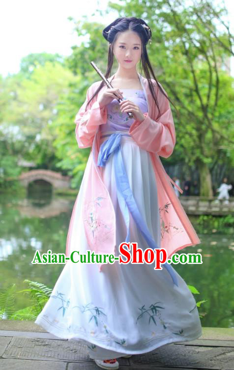 Traditional Ancient China Costume Young Lady Embroidery Pink BeiZi and Skirt Complete Set, Chinese Hanfu Han Dynasty Princess Embroidered Clothing for Women