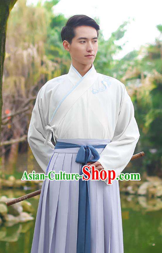 Traditional Chinese Hanfu Costumes Ancient Han Dynasty Young Men Embroidery Slant Opening Shirts and Grey Skirts Complete Set