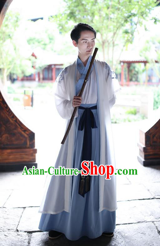 Traditional Chinese Hanfu Costumes Ancient Han Dynasty Swordsman Embroidery Clothing Cape and Robe Complete Set