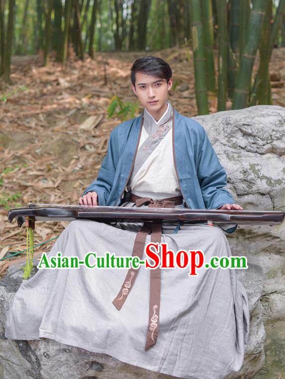 Traditional Chinese Hanfu Costumes Ancient Han Dynasty Swordsman Embroidery Clothing Blue Half-arm Shawl and Robe Complete Set