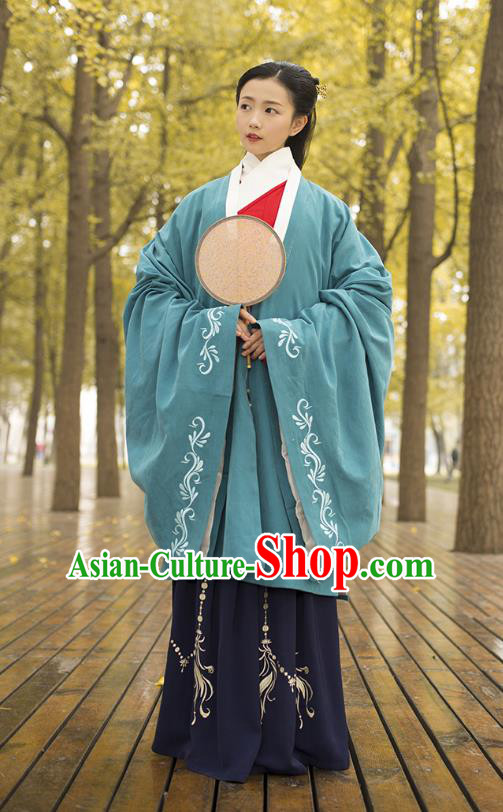 Traditional Chinese Ancient Costumes, Asian China Ming Dynasty Palace Lady Princess Clothing Embroidery Green Wide Sleeve Cardigan