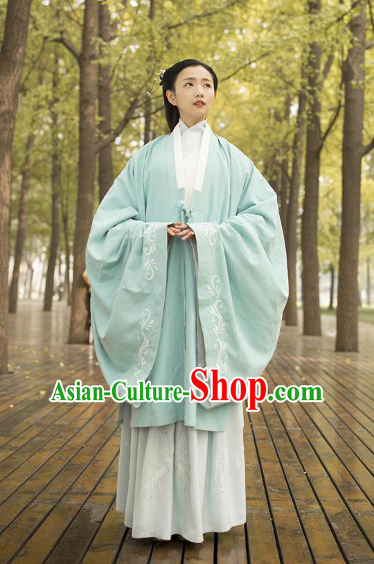 Traditional Chinese Ancient Costumes, Asian China Ming Dynasty Palace Lady Princess Clothing Embroidery Light Green Wide Sleeve Cardigan