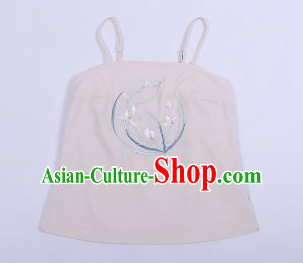 Traditional Chinese Ancient Hanfu Costumes, Asian China Song Dynasty Embroidery Suspenders Vest Pink Bellyband for Women