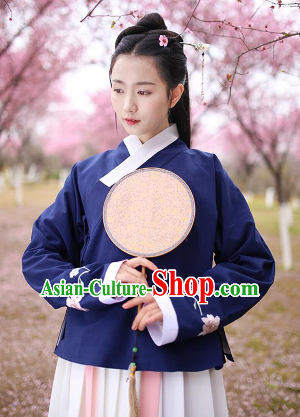 Traditional Chinese Ancient Hanfu Costumes, Asian China Ming Dynasty Young Lady Embroidery Navy Blouse for Women