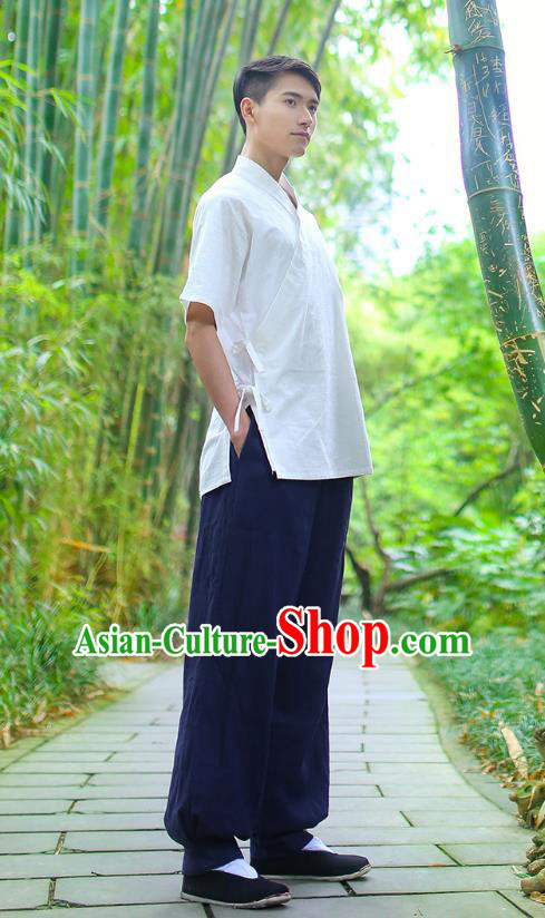 Traditional Chinese Ancient Hanfu Costumes, Asian China Ming Dynasty Slant Opening White Shirt for Men