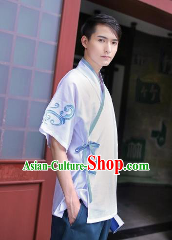 Traditional Chinese Ancient Hanfu Costumes, Asian China Ming Dynasty Slant Opening Embroidery Shirt for Men