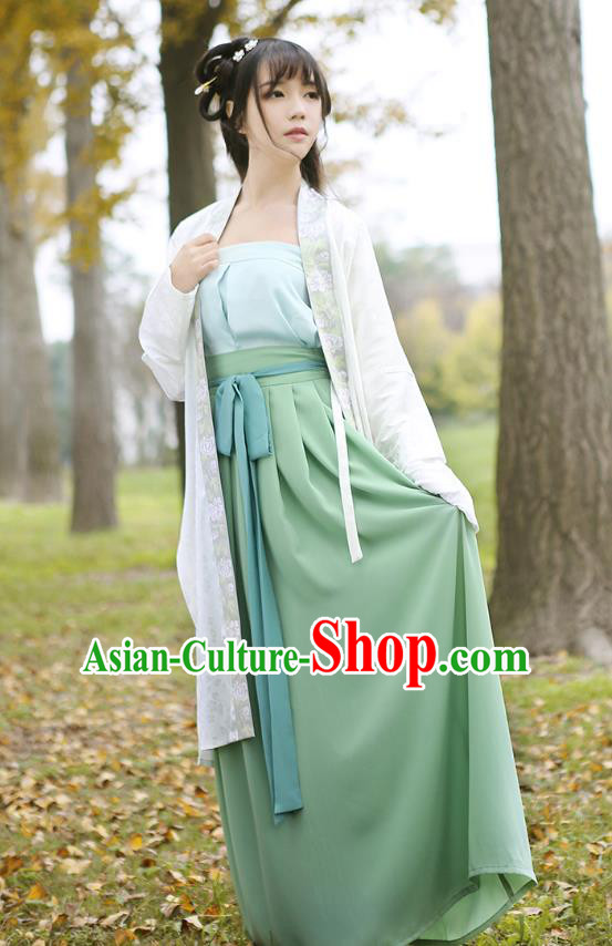Ancient Chinese Palace Princess Hanfu Costume, Traditional China Song Dynasty Young Lady Embroidery White BeiZi Boob Tube Top and Skirt Complete Set