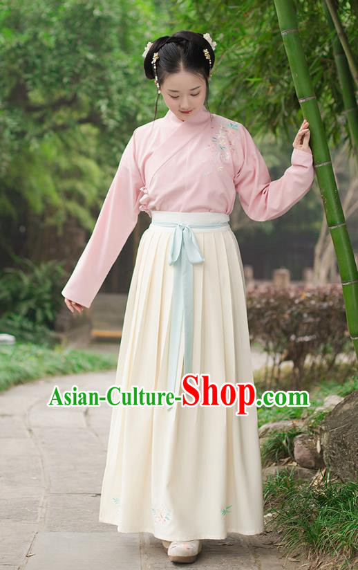 Ancient Chinese Palace Princess Hanfu Costume, Traditional China Ming Dynasty Young Lady Pink Embroidery Blouse and Yellow Skirt Complete Set