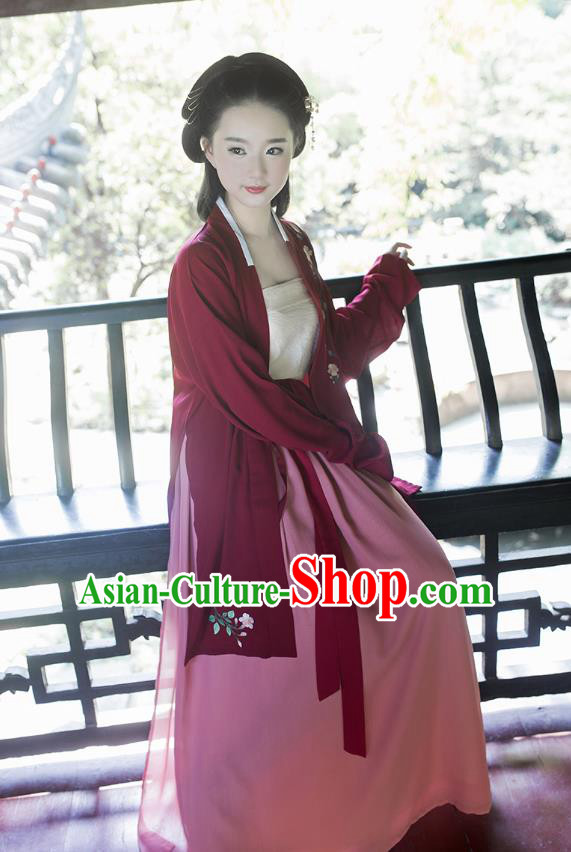 Ancient Chinese Palace Princess Hanfu Costume, Traditional China Song Dynasty Palace Lady Embroidery Red Cardigan Clothing