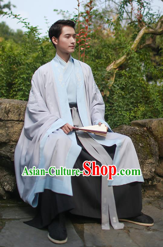 Ancient Chinese Scholar Hanfu Costume, Traditional China Jin Dynasty Embroidery Clothing Grey Long Cloak for Men