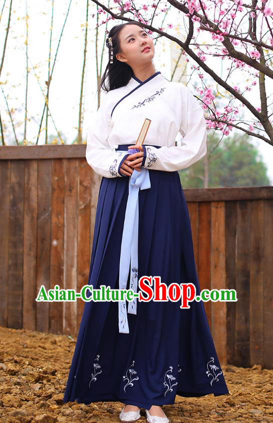 Ancient Chinese Royal Princess Hanfu Costume, Traditional China Han Dynasty Palace Lady Embroidery Blouse and Blue Dress for Women