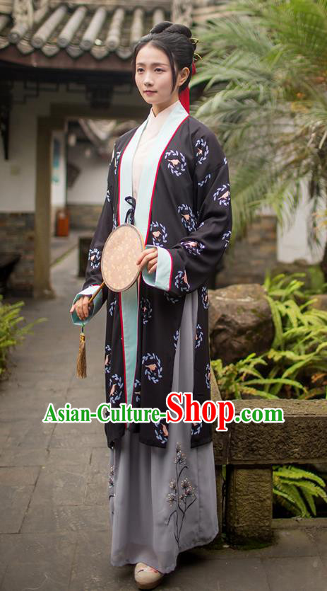 Traditional Chinese Ancient Young Lady Hanfu Costumes, Asian China Song Dynasty Palace Princess Black BeiZi Blouse and Skirts Complete Set for Women