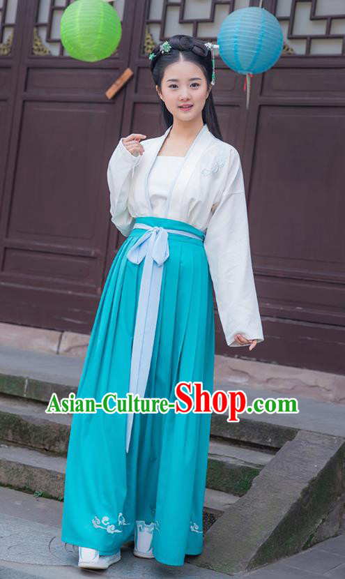 Traditional Chinese Ancient Young Lady Hanfu Costumes, Asian China Han Dynasty Palace Princess Blue Slip Skirts for Women