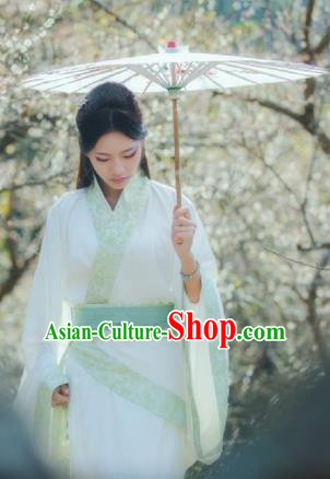 Traditional Chinese Ancient Young Lady Hanfu Costumes, Asian China Han Dynasty Palace Princess Embroidery Curve Bottom for Women