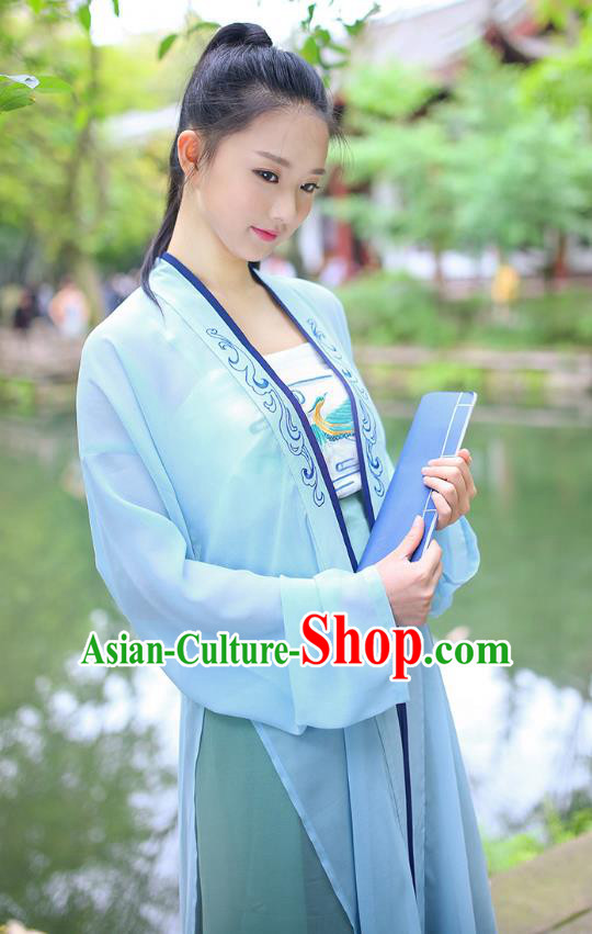 Traditional Chinese Ancient Young Lady Hanfu Costumes, Asian China Song Dynasty Embroidery Blouse and Pants for Women