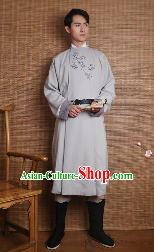 Traditional Chinese Ancient Hanfu Costumes, Asian China Ming Dynasty Imperial Guards Embroidery Grey Long Robe for Men