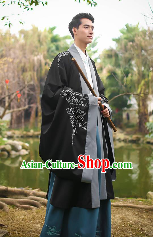 Traditional Chinese Ancient Hanfu Swordsman Costumes, Asian China Jin Dynasty Embroidery Black Cloak for Men
