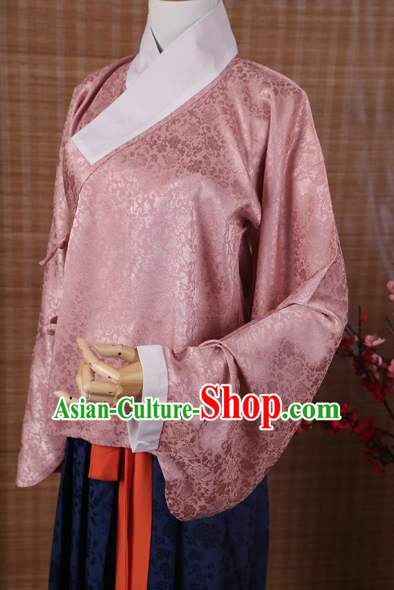 Traditional Chinese Ancient Hanfu Imperial Princess Costume, Asian China Ming Dynasty Palace Lady Pink Silk Blouse for Women