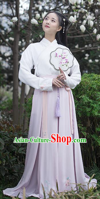 Traditional Chinese Ancient Hanfu Princess Costume, Asian China Song Dynasty Young Lady Lilac Bust Skirt for Women