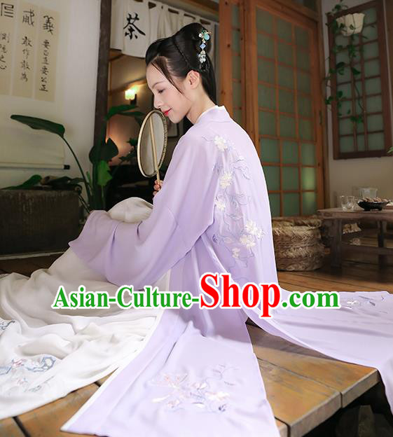 Traditional Chinese Ancient Princess Hanfu Costumes, Asian China Song Dynasty Palace Lady Embroidery Purple BeiZi Cardigan for Women