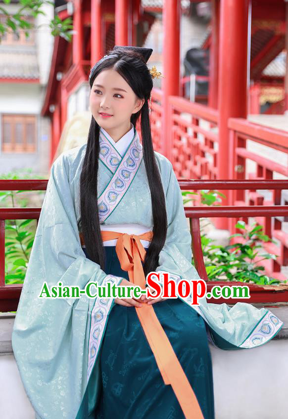 Traditional Chinese Ancient Hanfu Young Lady Costumes, Asian China Han Dynasty Princess Embroidery Green Dress Clothing for Women