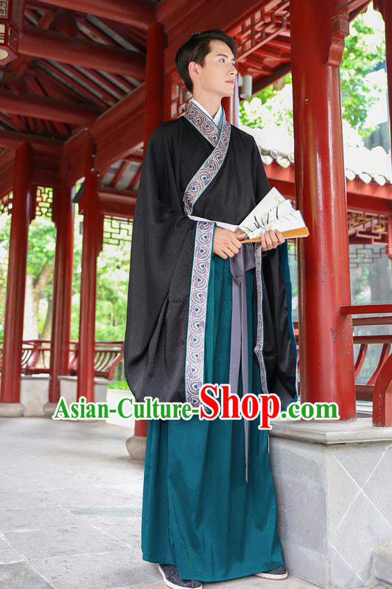 Traditional Chinese Ancient Hanfu Young Men Black Costumes, Asian China Han Dynasty Embroidery Wedding Clothing for Men