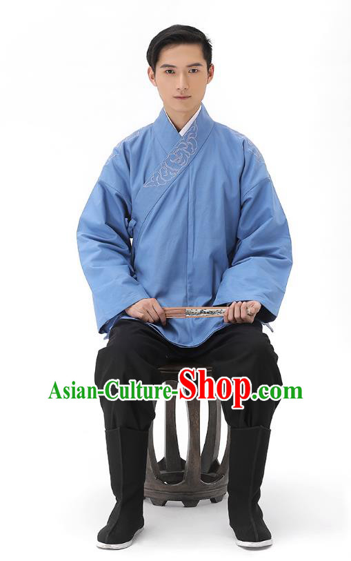 Traditional Chinese Ancient Hanfu Costumes, Asian China Han Dynasty Embroidered Blue Shirt Upper Outer Garment for Men