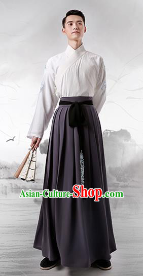 Traditional Chinese Ancient Minister Hanfu Costumes, Asian China Han Dynasty Slant Opening Embroidered Grey Clothing for Men